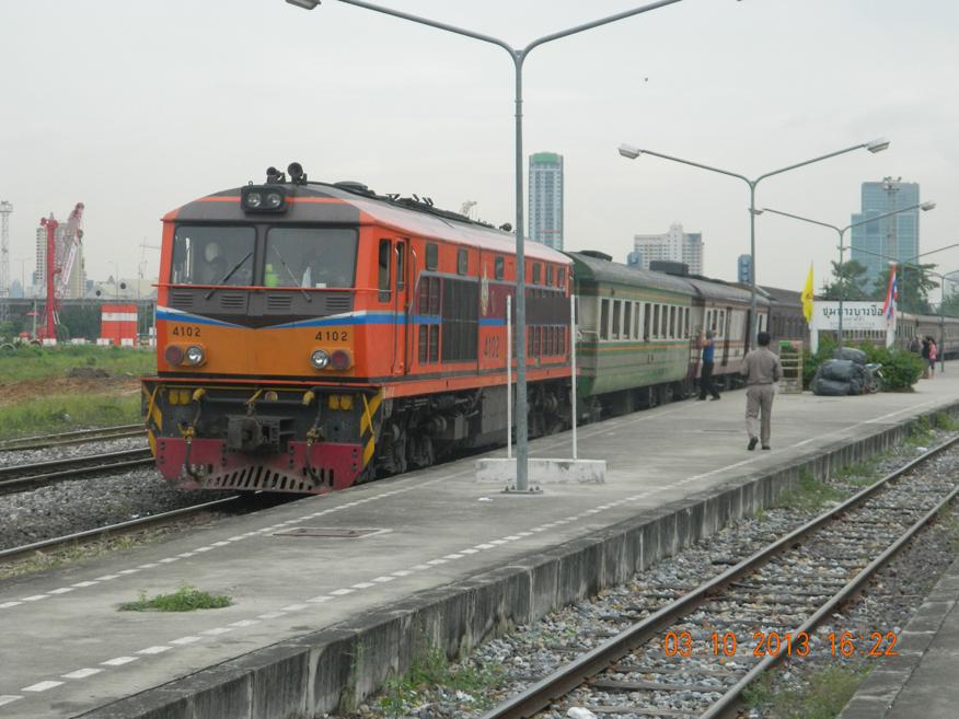 Southern bound train at Bang Sue Railway Station, Bangkok