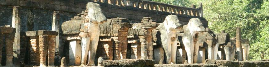 Elephant sculptures at Wat Chang Lom, Si Satchanalai Historical Park